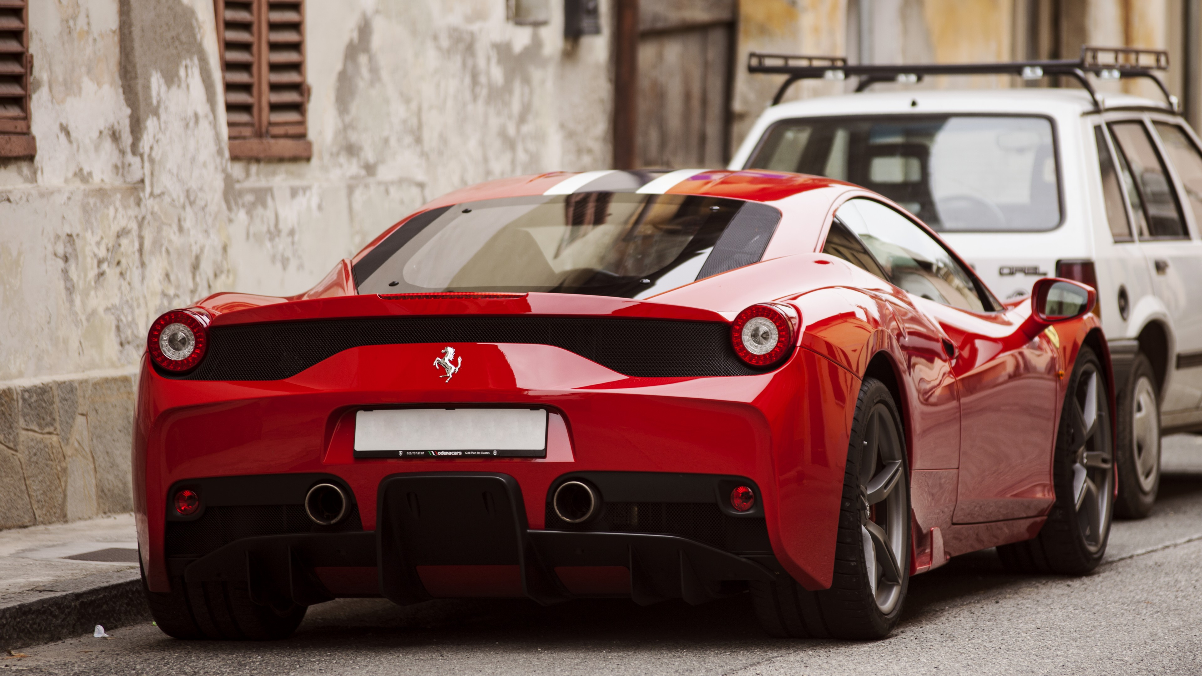 Wallpaper Ferrari 458 Speciale Supercar Back View Red