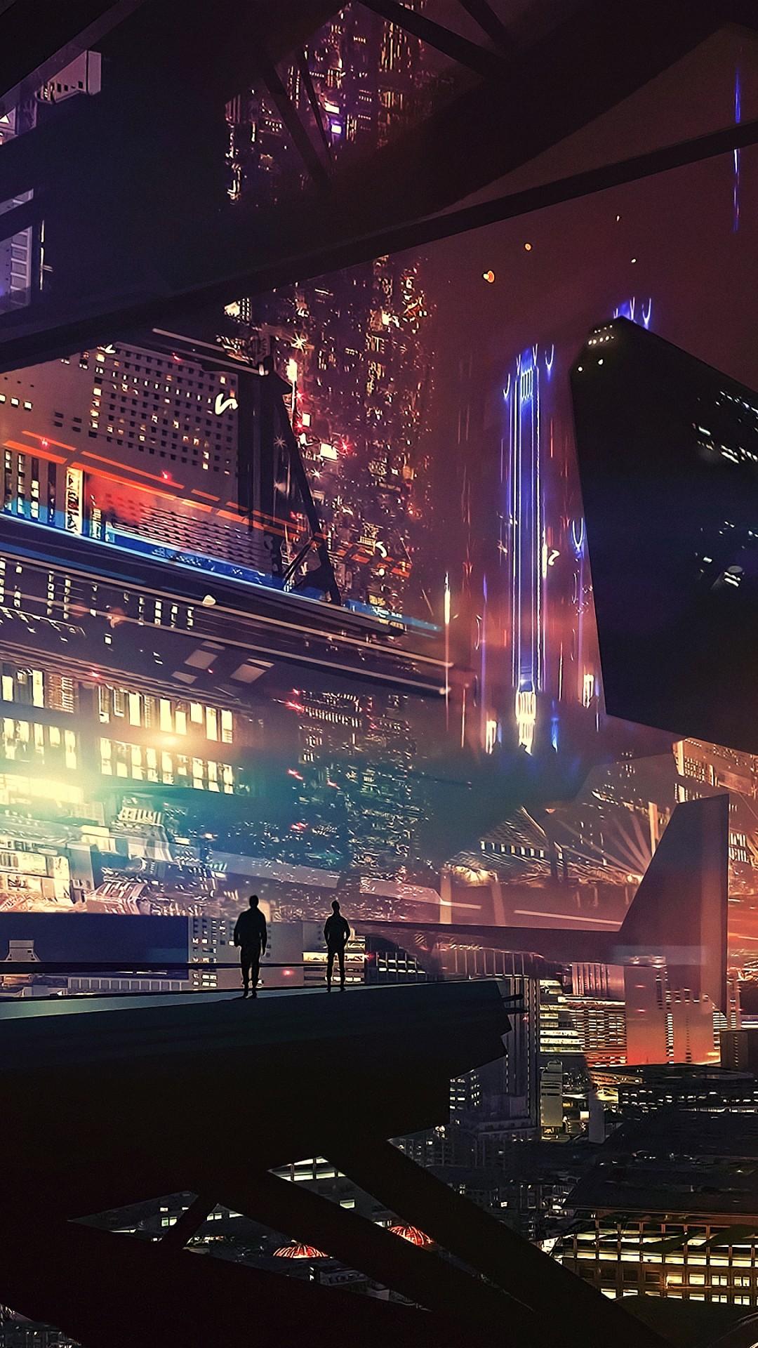 Wallpaper Spaceship Future World Cyberpunk Futuristic