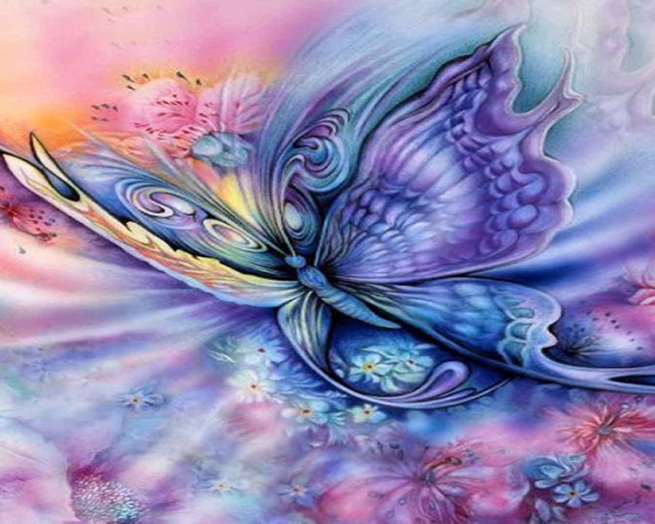 1280x1024 Blue Purple Butterfly   Floral desktop PC and Mac wallpaper