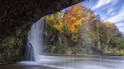 Waterfall Over Cave Autumn 4K HD Desktop Wallpaper for 4K ...