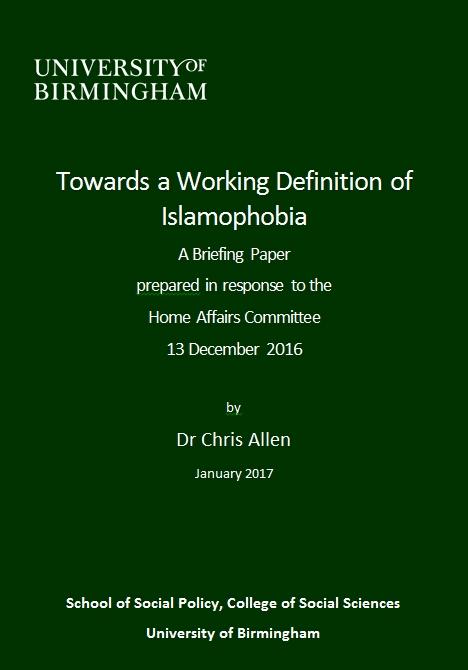 Evidence: Towards a Working Definition of Islamophobia ...