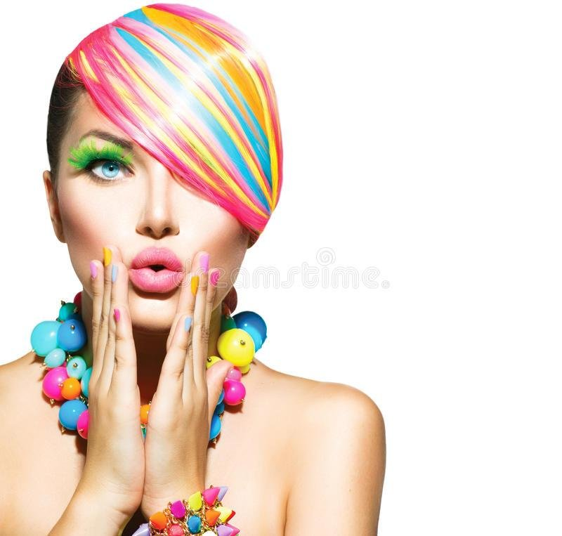 New Woman With Colorful Makeup Stock Image Image Of Accessory Ideas With Pictures