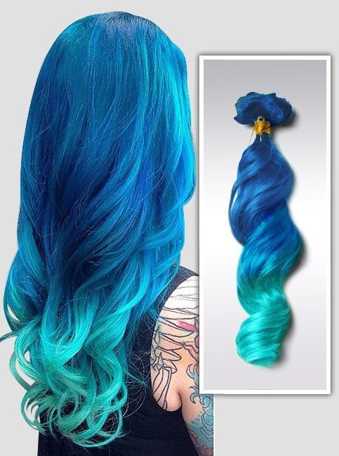 New Mermaid Ombre Colorful Indian Remy Clip In Hair Extensions Ideas With Pictures