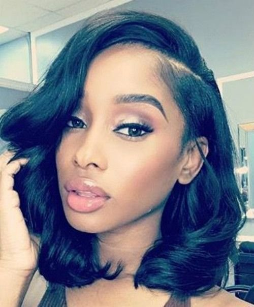 New Shoulder Length Side Part Wavy Bob Wigh Bangs Wigs For Black Women Human Hair Wigs Lace Front Ideas With Pictures