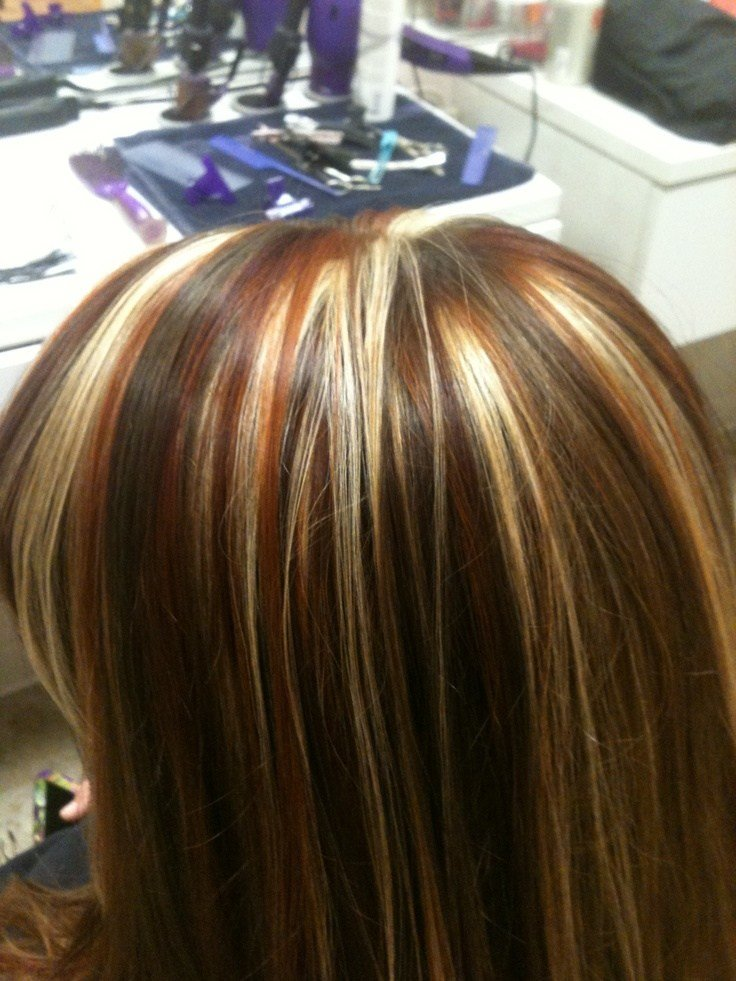 New Tri Colored Highlights Red Copper And Blonde Highlights Stylist Wendy Brown My Style Hair Ideas With Pictures