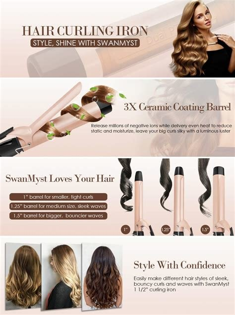 New Amazon Com Swanmyst Curling Iron 1 5 Inch Ceramic Hair Curling Wand 1 1 2 Inch With Cool Tip Ideas With Pictures