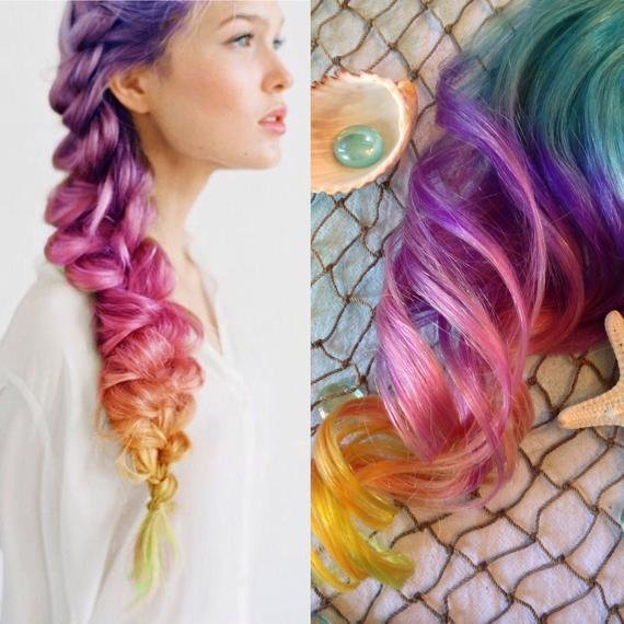 New Rainbow Color Hair Extensions Ombre Hair Clip In Purple Ideas With Pictures