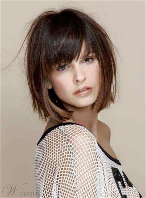 New Short Straight Bob With Bangs Human Hair Capless Wig 10 Ideas With Pictures