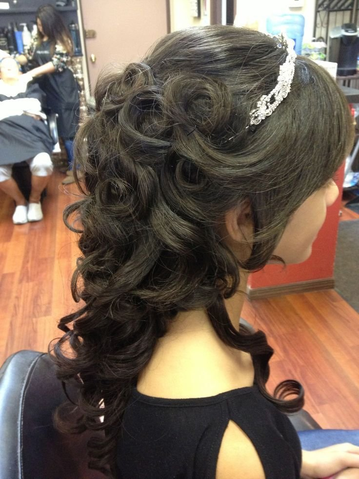 New Beautiful Partial Updo With Tiara Flowing Curls In Back Ideas With Pictures