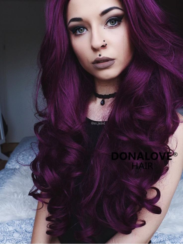 New Dark Purple Wavy Waist Length Lace Front Synthetic Wig Ideas With Pictures