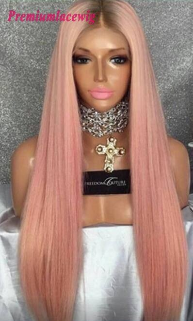New Buy Lace Front Wig Pink Color Straight Human Hair Wig 24Inch Ideas With Pictures