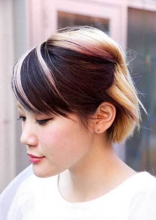 New Two Tone Hair Color For Short Hair Short Hairstyles 2018 Ideas With Pictures