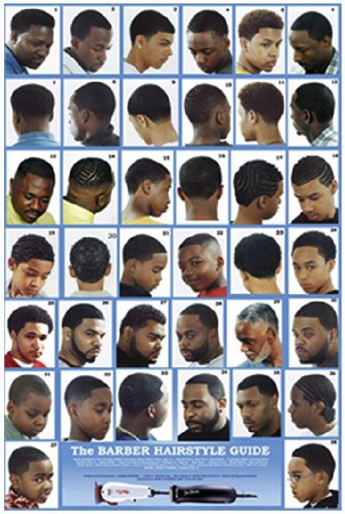 """New """"The Barber Hairstyle Guide"""" Blue Background Poster Ideas With Pictures Original 1024 x 768"""