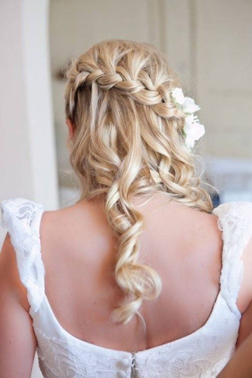 New Half Up Half Down Wedding Hairstyle Waterfall Braid Ideas With Pictures