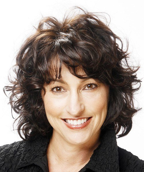 New Medium Curly Casual Hairstyle With Layered Bangs Black Ideas With Pictures