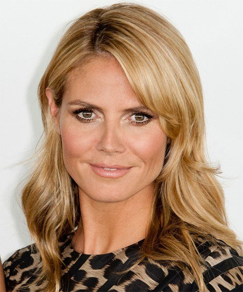 New Heidi Klum Medium Straight Casual Hairstyle Honey Blonde Ideas With Pictures