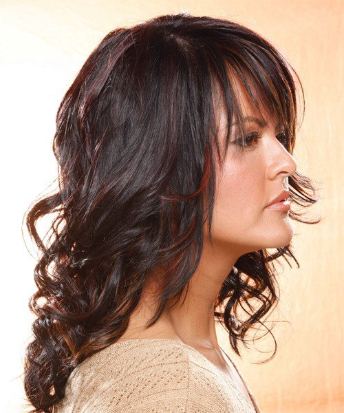 New Long Wavy Casual Hairstyle With Layered Bangs Dark Plum Ideas With Pictures