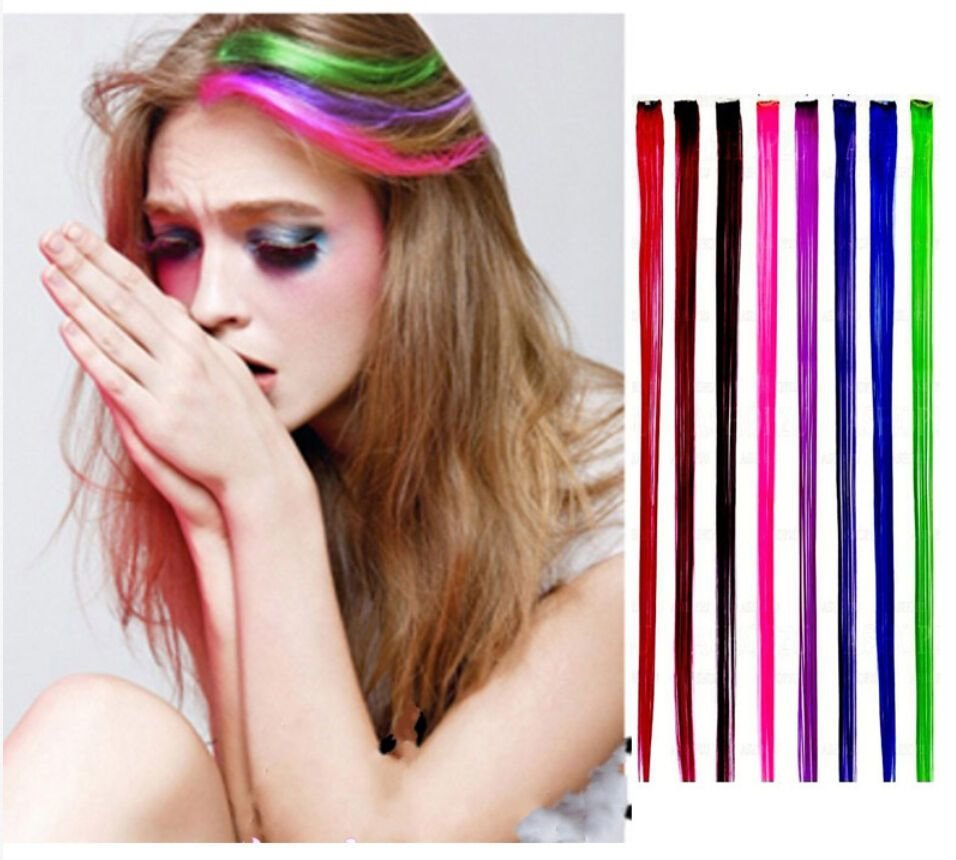 New 24 Colored Colorful Clip On In Hair Extension Fake Ideas With Pictures