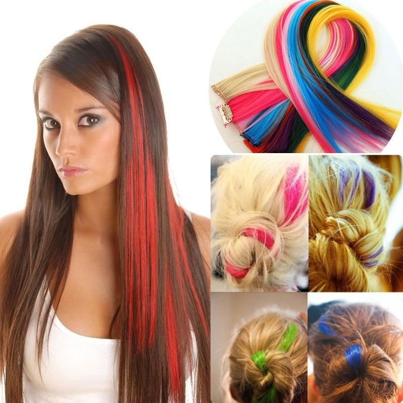 New Clip In On Colorful Hair Piece Synthetic Straight Hair Ideas With Pictures