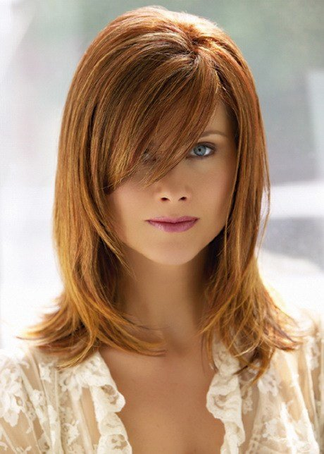 New Medium Hairstyles With Side Swept Bangs Ideas With Pictures