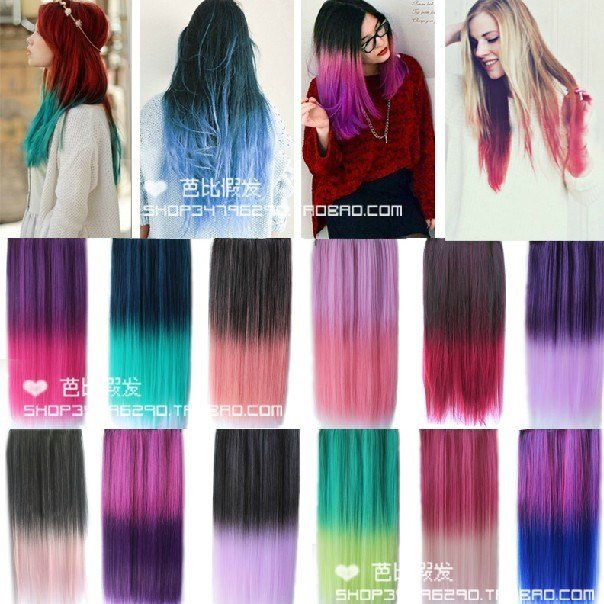New Cheap Synthetic Straight Hair Extension Clip In 5A Ombre Ideas With Pictures