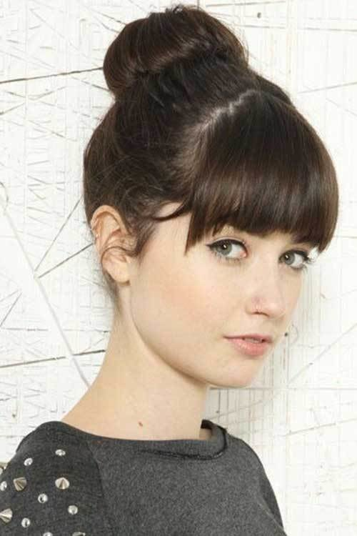 New 20 Bun Hairstyles With Bangs Hairstyles Haircuts 2016 Ideas With Pictures
