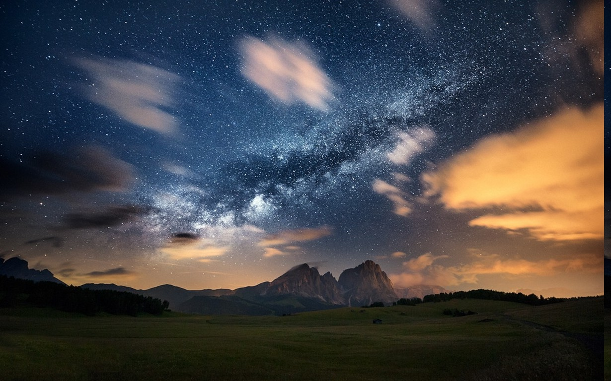Nature Landscape Milky Way Mountain Galaxy Clouds