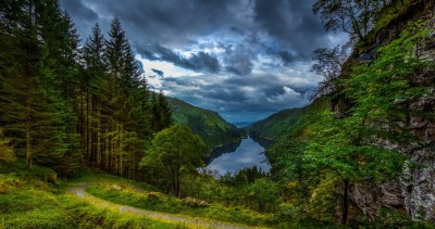 nature, Landscape, Lake, Forest, Clouds, Path, Grass ...
