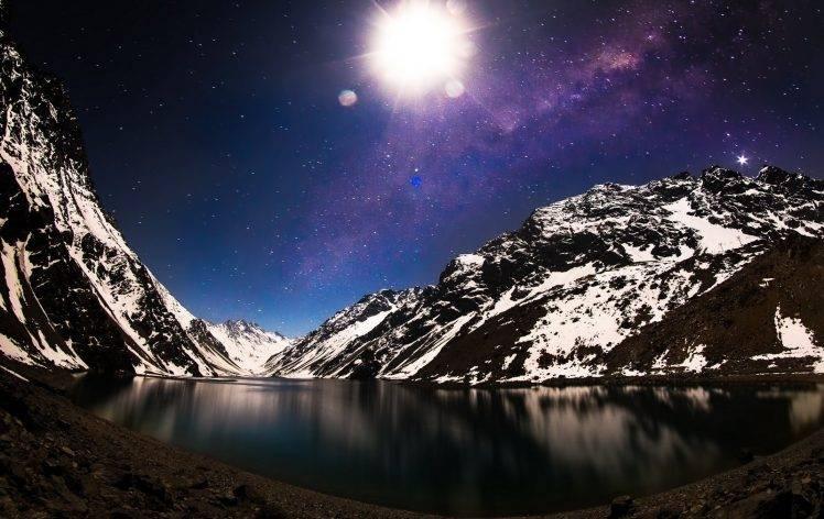 Moonlight Night Winter Starry Trees