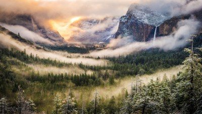 mountains, Nature, Forest, Mist, Yosemite National Park ...
