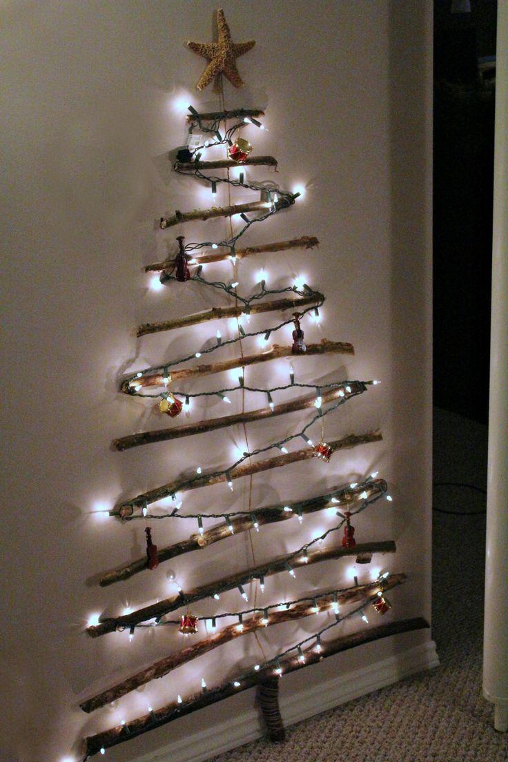 Christmas Tree Made Out Lights Wall