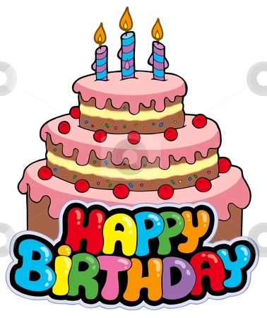 Happy Birthday Sign With Cake Stock Vector