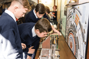 Secondary School Tour Students interact with the exhibits