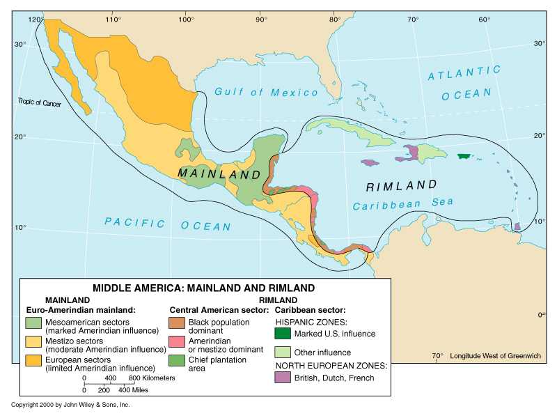 Puerto Map Middle America Large Rico