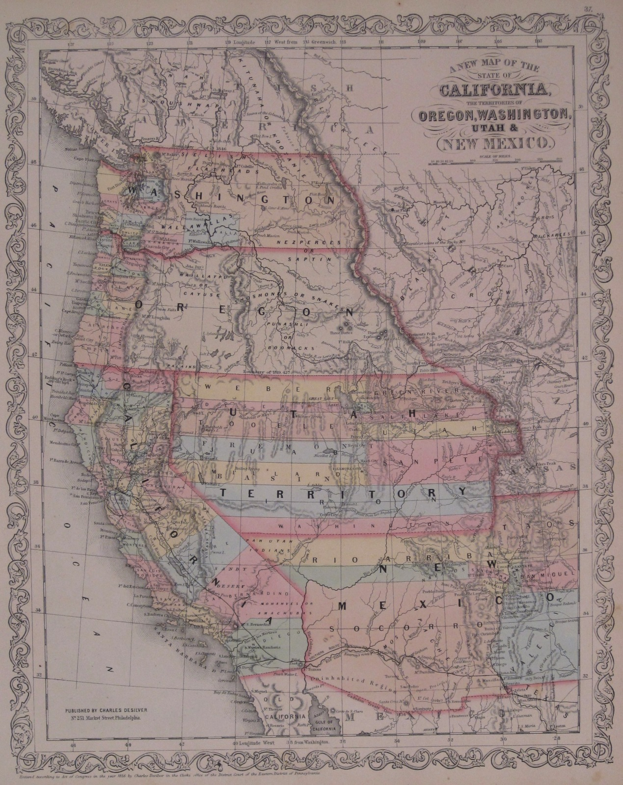 Washington County Maps and Charts 1858 Map of Oregon  Washington  California  Utah  and New Mexico      1859 Map  of the States of California  the Territories of