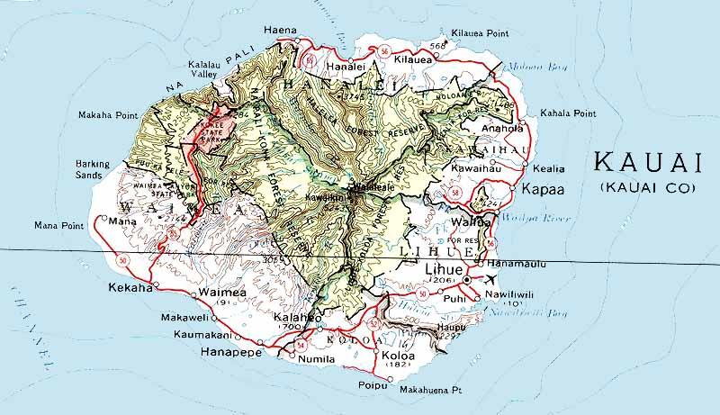 Kauai Hawaii Maps Road Map