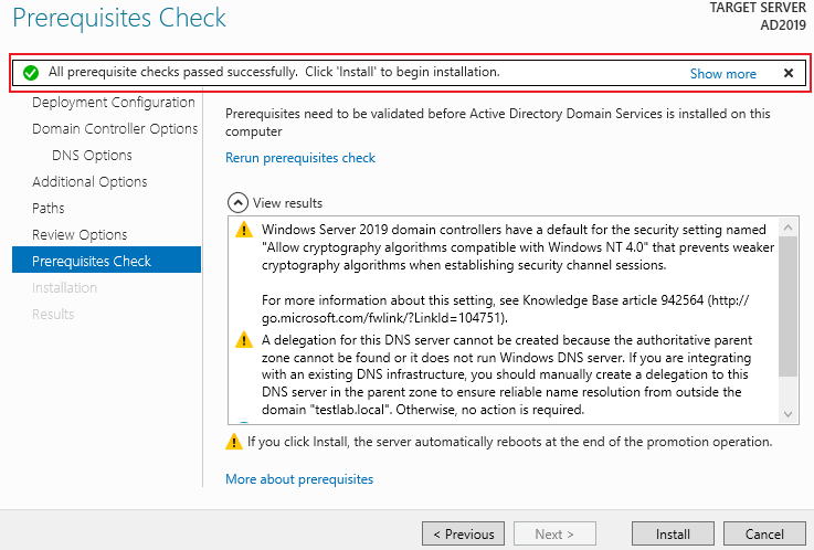 Server 2019 DC Prerequsites Check