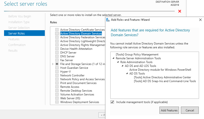 Install Active Directory Role on Windows Server 2019