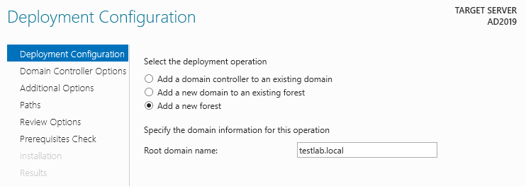 Server 2019 Add New Forest