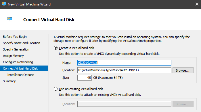 VM Connect Hard Disk