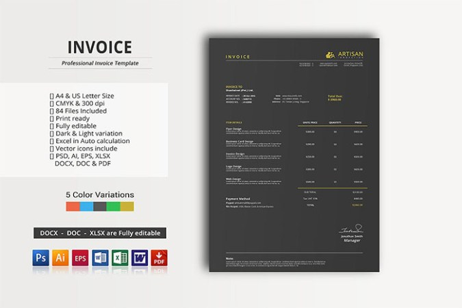 63  Invoice Design Templates 2018  PSD  Word  Excel  PDF  InDesign  Graphic Design Invoice Template