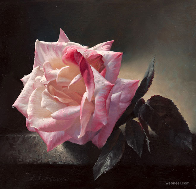 30 Beautiful and Realistic Flower Paintings for your ...