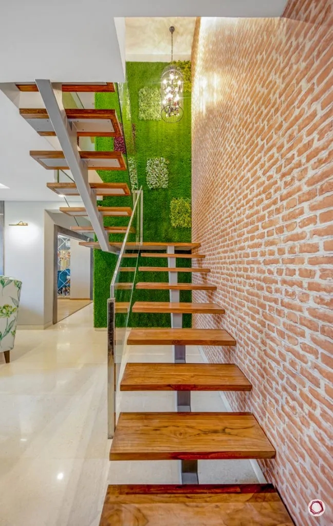 Check Out The Amazing House Interior Design For This 4Bhk   Duplex House Staircase Wall Design   Tv Cabinet   Stair Wall Paint   Living Room Staircase   Decoration   Exterior Staircase