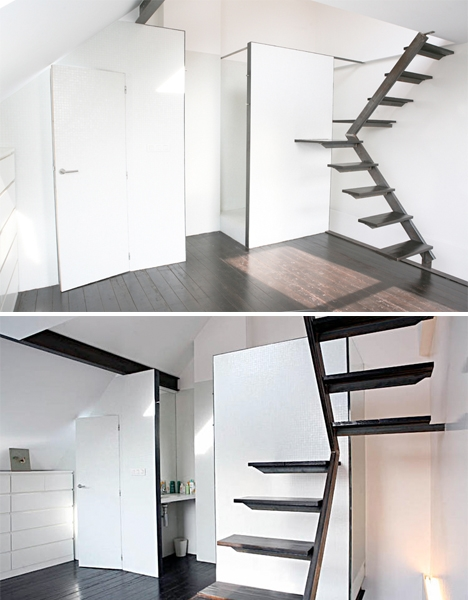 Steps To Saving Space 15 Compact Stair Designs For Lofts Urbanist   Stairway Designs For Small Spaces   Home Side Wall   Storage   Decorative   Straight   First Floor Step