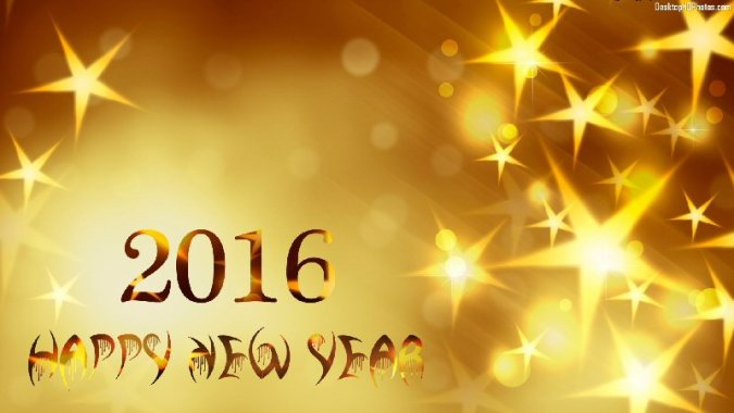 Happy New Year    WE C Hope The message    Happy New Year 2016    written in gold text  laid over a