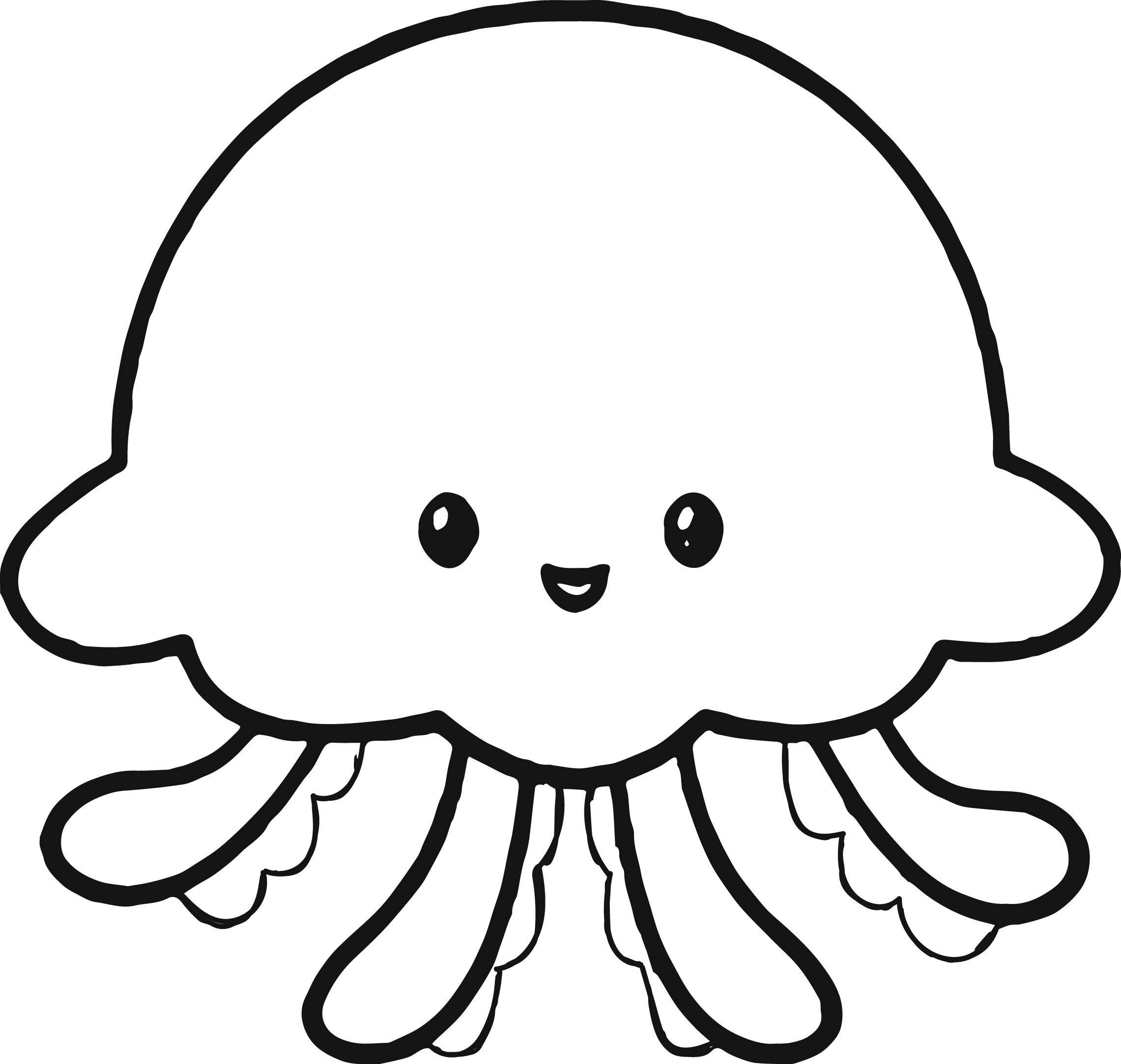 Cute Jellyfish Coloring Page Wecoloringpage