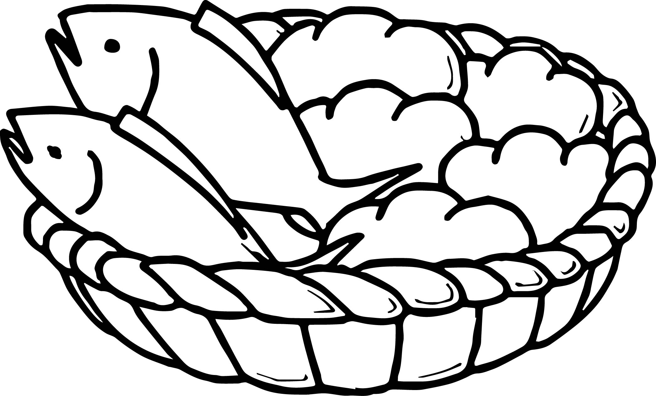5 Loaves Bread And 2 Fish Coloring Page Wecoloringpage