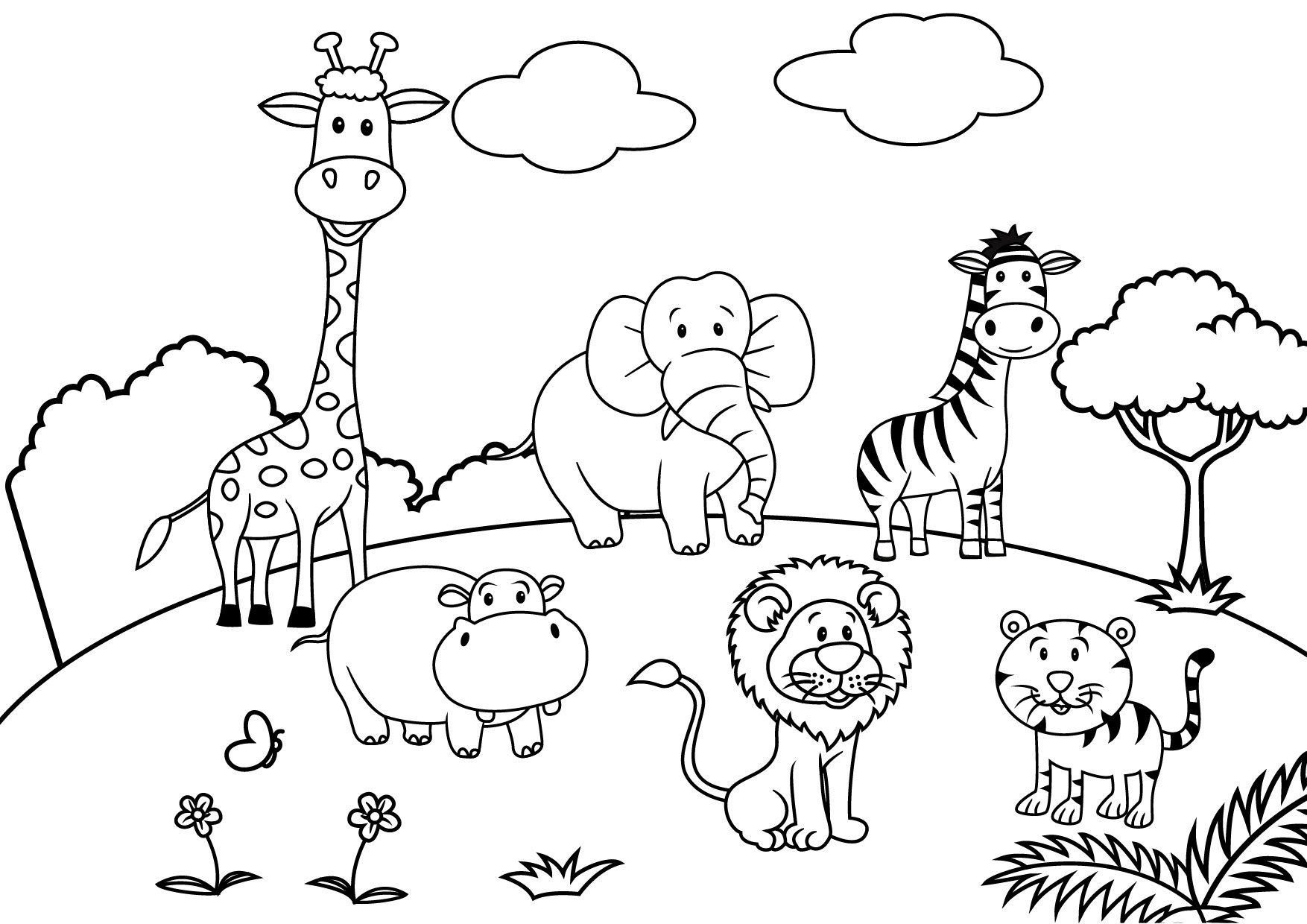 And Zoo Covered Pages Snow Coloring Black White