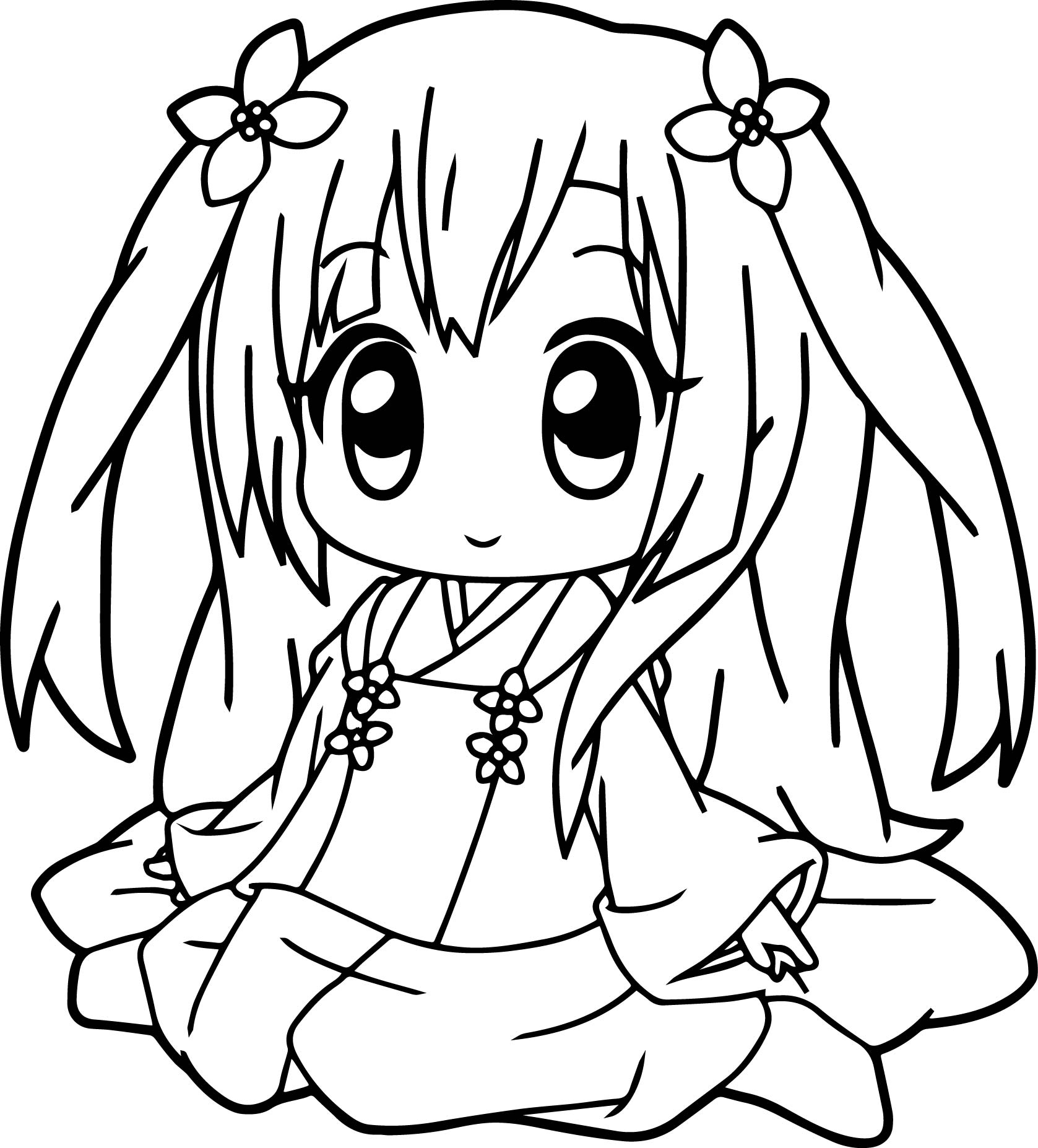 Very Cute Anime Girl Coloring Page Wecoloringpage