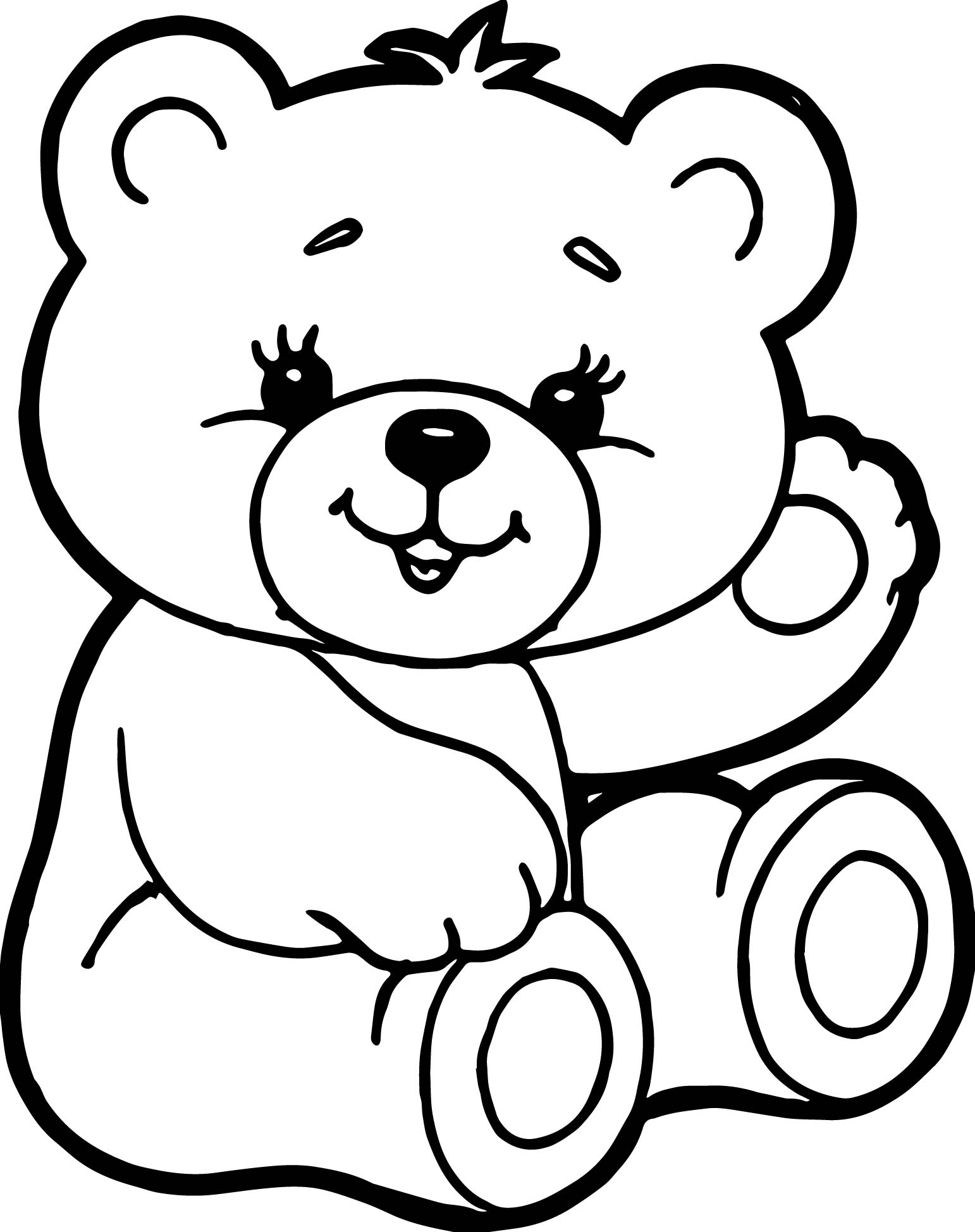 Cute Bear Coloring Page Wecoloringpage